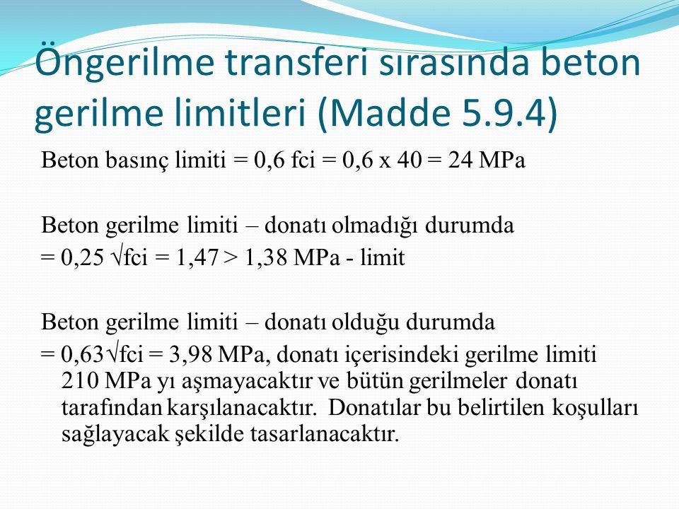 Öngerilme transferi sırasında beton gerilme limitleri (Madde 5.9.4)