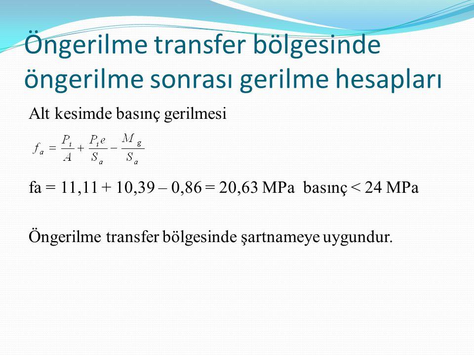 Öngerilme transfer bölgesinde öngerilme sonrası gerilme hesapları