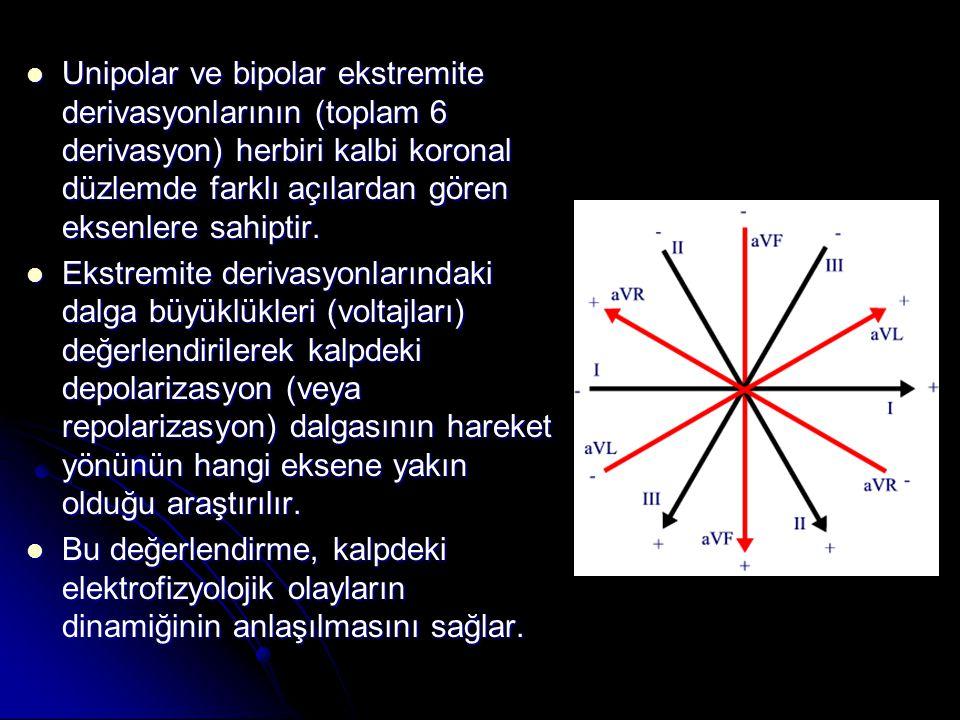 Unipolar ve bipolar ekstremite derivasyonlarının (toplam 6 derivasyon) herbiri kalbi koronal düzlemde farklı açılardan gören eksenlere sahiptir.