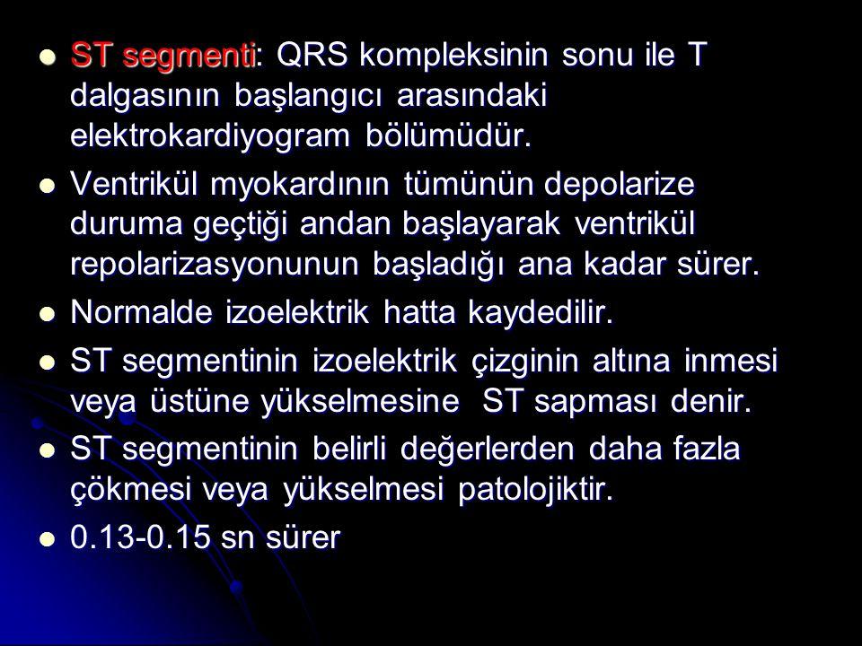 ST segmenti: QRS kompleksinin sonu ile T dalgasının başlangıcı arasındaki elektrokardiyogram bölümüdür.