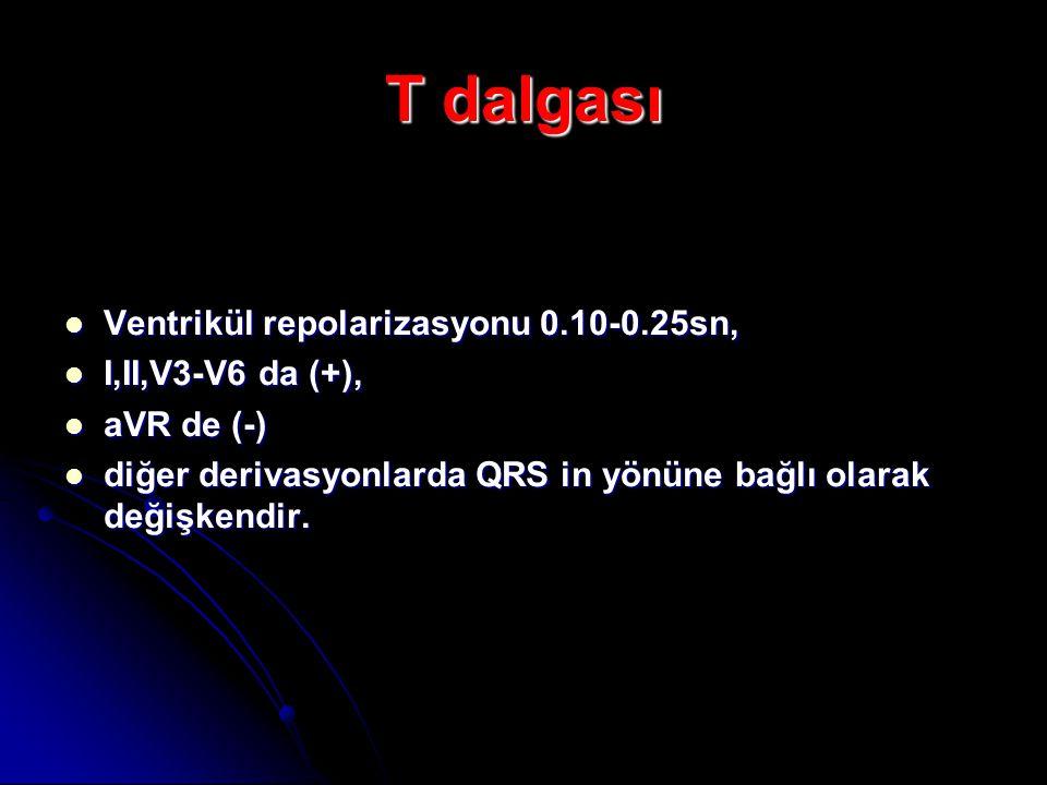 T dalgası Ventrikül repolarizasyonu 0.10-0.25sn, I,II,V3-V6 da (+),