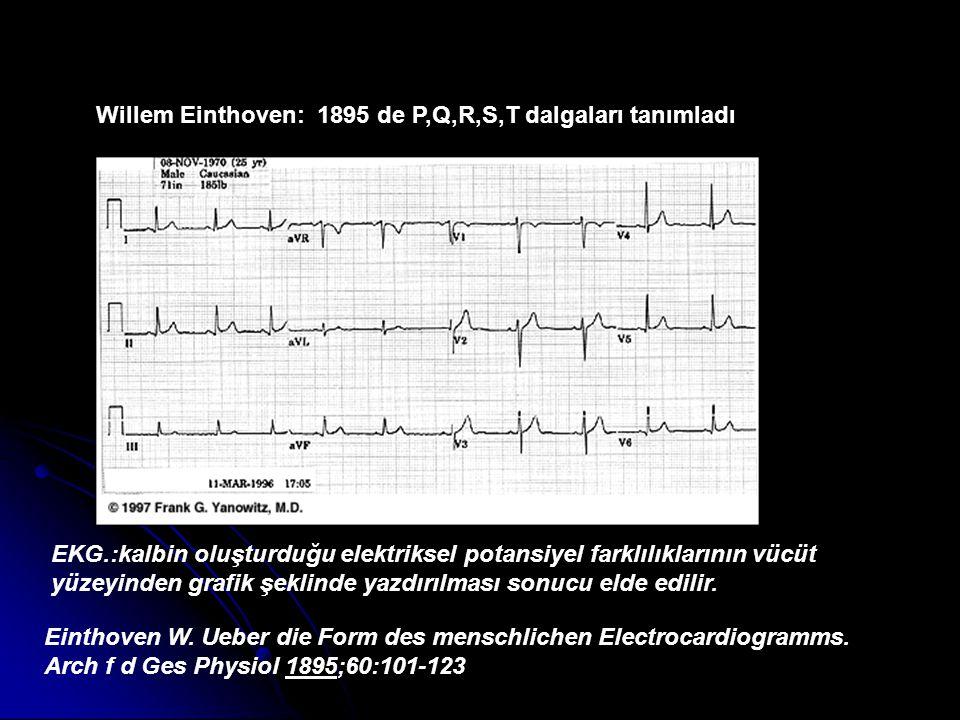 Willem Einthoven: 1895 de P,Q,R,S,T dalgaları tanımladı