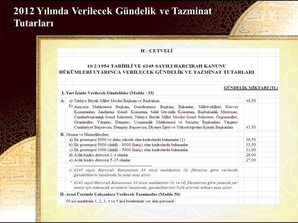 2012 Yılında Verilecek Gündelik ve Tazminat Tutarları