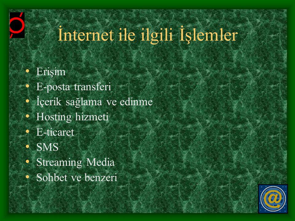 İnternet ile ilgili İşlemler