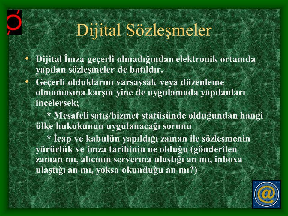 Dijital Sözleşmeler Dijital İmza geçerli olmadığından elektronik ortamda yapılan sözleşmeler de batıldır.