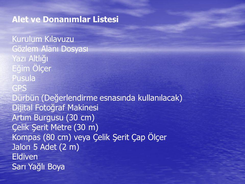 Alet ve Donanımlar Listesi