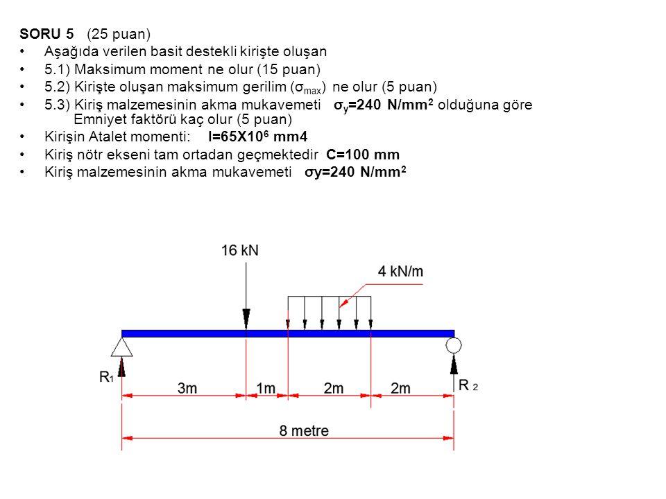 SORU 5 (25 puan) Aşağıda verilen basit destekli kirişte oluşan. 5.1) Maksimum moment ne olur (15 puan)