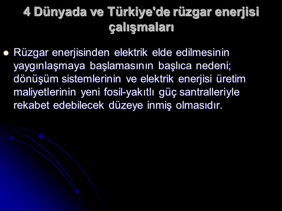 4 Dünyada ve Türkiye de rüzgar enerjisi çalışmaları