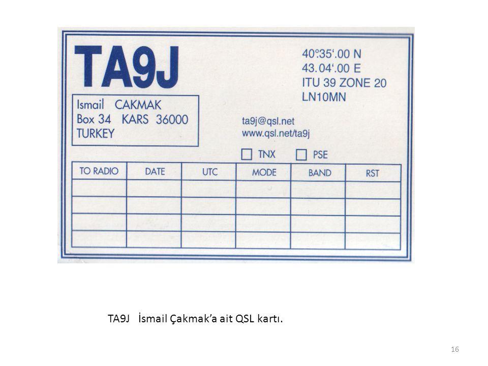 TA9J İsmail Çakmak'a ait QSL kartı.