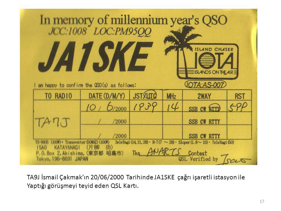 TA9J İsmail Çakmak'ın 20/06/2000 Tarihinde JA1SKE çağrı işaretli istasyon ile