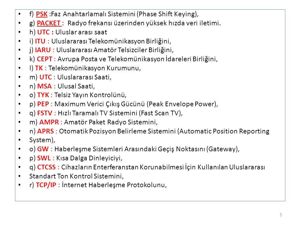 f) PSK :Faz Anahtarlamalı Sistemini (Phase Shift Keying),