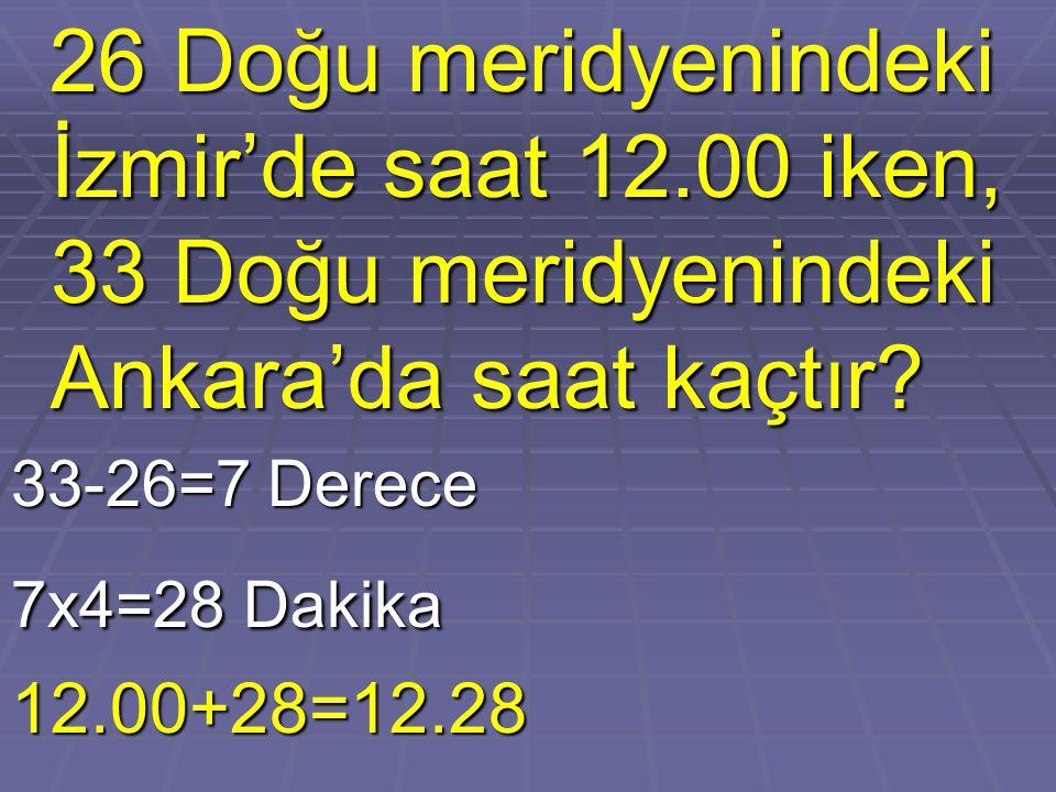 26 Doğu meridyenindeki İzmir'de saat 12