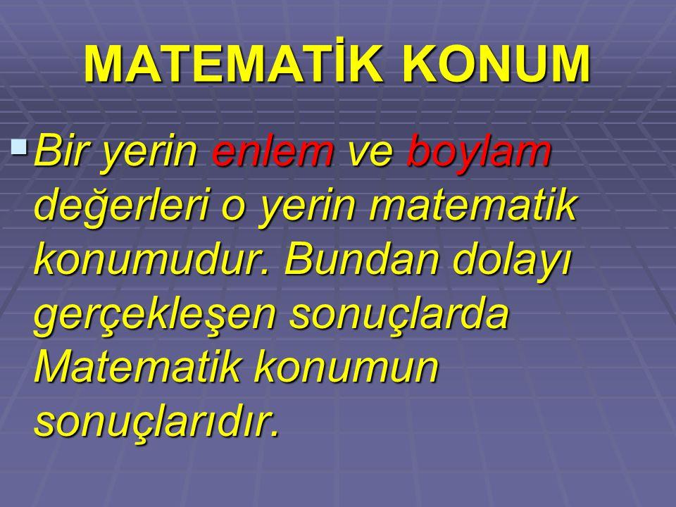 MATEMATİK KONUM Bir yerin enlem ve boylam değerleri o yerin matematik konumudur.