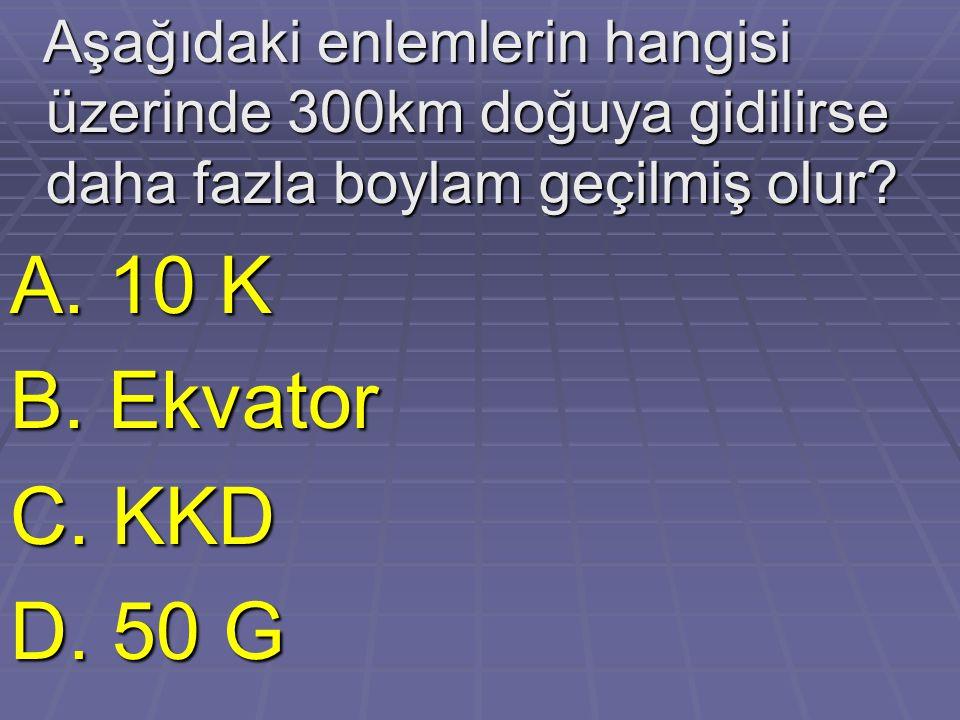 Aşağıdaki enlemlerin hangisi üzerinde 300km doğuya gidilirse daha fazla boylam geçilmiş olur