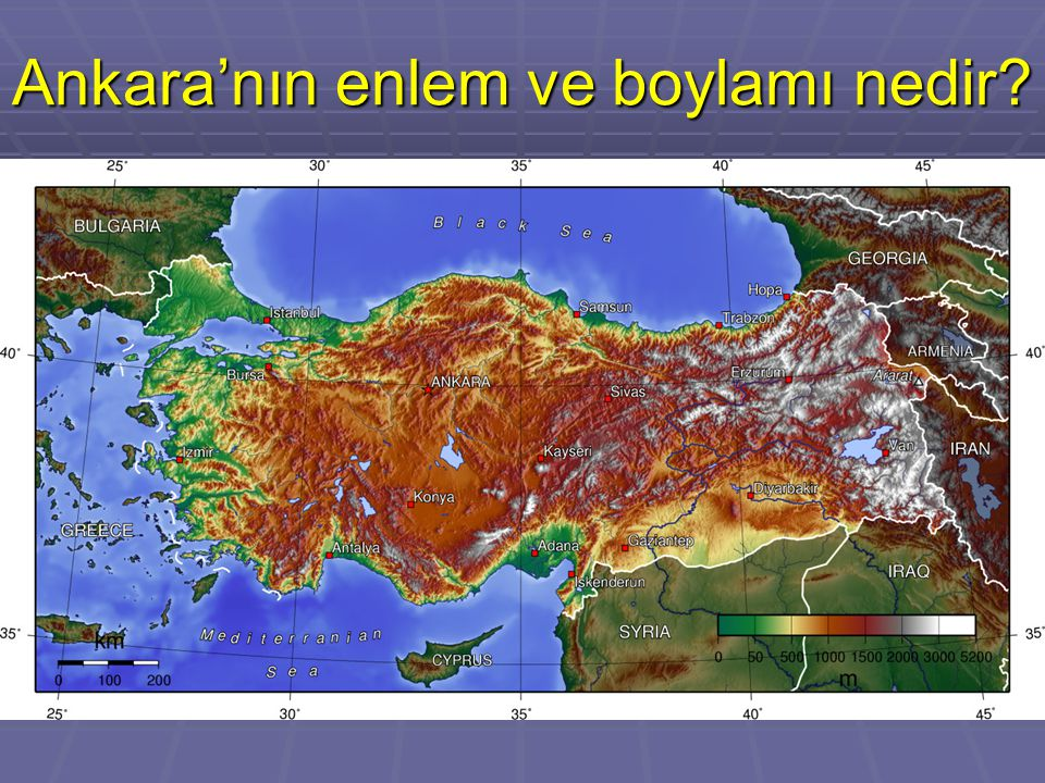 Ankara'nın enlem ve boylamı nedir