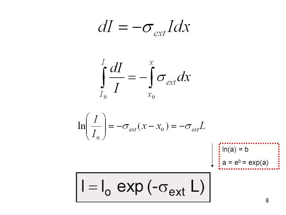 ln(a) = b a = eb = exp(a)