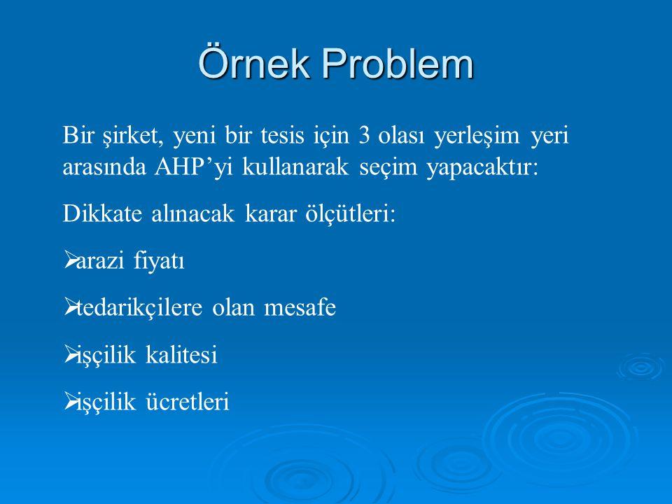 Örnek Problem Bir şirket, yeni bir tesis için 3 olası yerleşim yeri arasında AHP'yi kullanarak seçim yapacaktır: