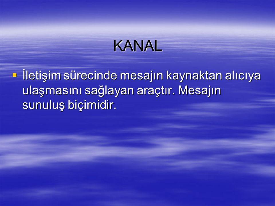 KANAL İletişim sürecinde mesajın kaynaktan alıcıya ulaşmasını sağlayan araçtır.
