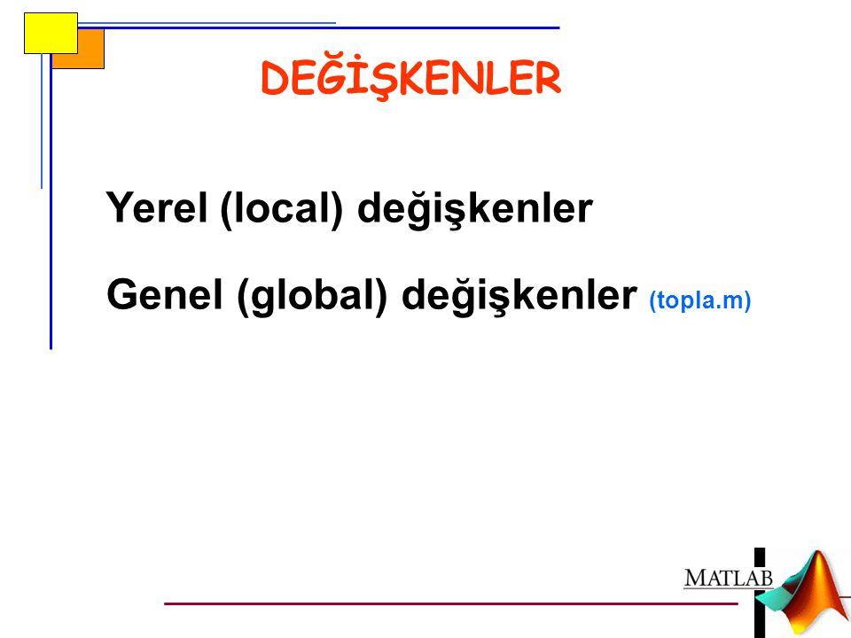 DEĞİŞKENLER Yerel (local) değişkenler Genel (global) değişkenler (topla.m)