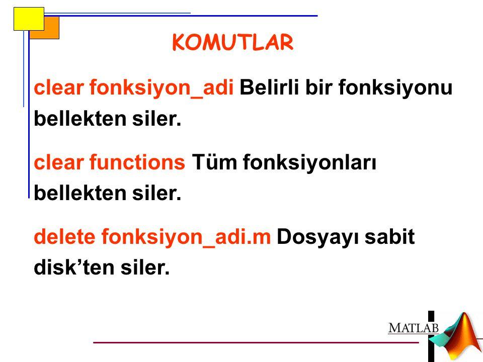 KOMUTLAR clear fonksiyon_adi Belirli bir fonksiyonu bellekten siler. clear functions Tüm fonksiyonları bellekten siler.