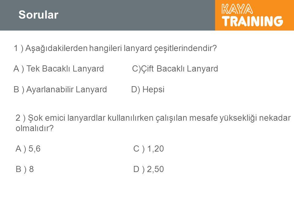 Sorular 1 ) Aşağıdakilerden hangileri lanyard çeşitlerindendir