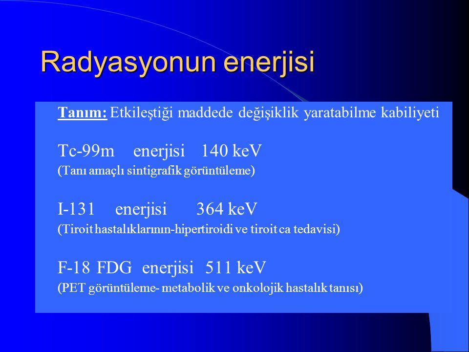 Radyasyonun enerjisi Tc-99m enerjisi 140 keV I-131 enerjisi 364 keV