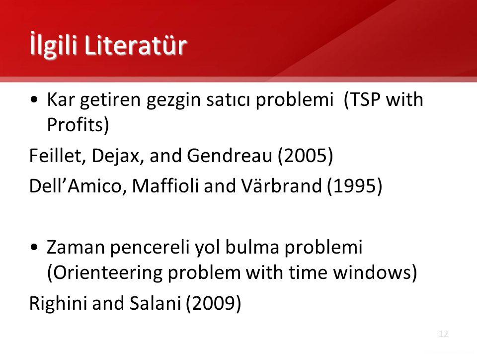 İlgili Literatür Kar getiren gezgin satıcı problemi (TSP with Profits)