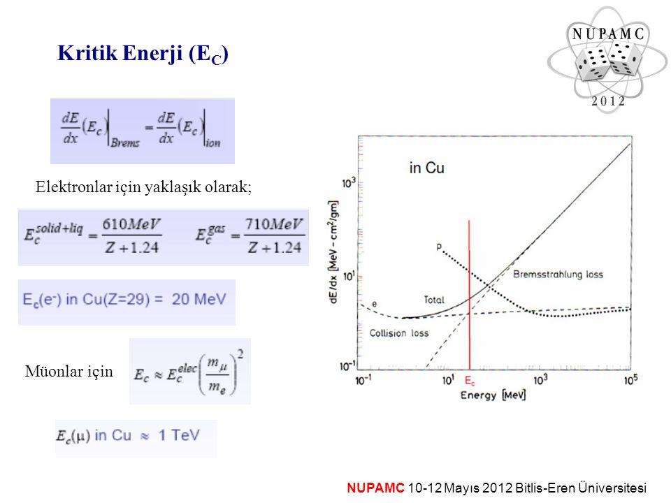 Kritik Enerji (EC) Elektronlar için yaklaşık olarak; Müonlar için