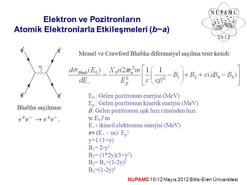 Elektron ve Pozitronların Atomik Elektronlarla Etkileşmeleri (b~a)