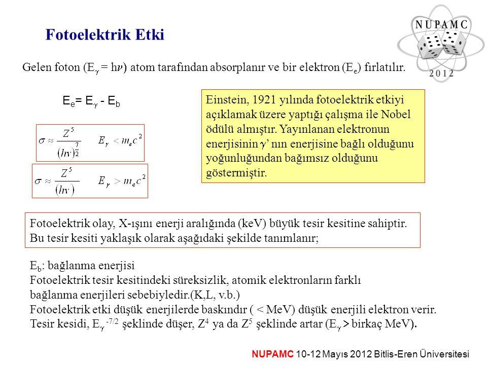 Fotoelektrik Etki Gelen foton (Eg = hn) atom tarafından absorplanır ve bir elektron (Ee) fırlatılır.