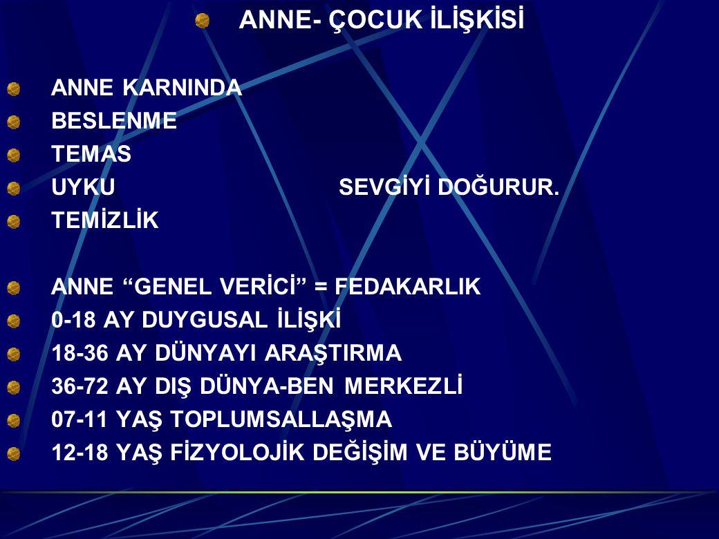 ANNE- ÇOCUK İLİŞKİSİ ANNE KARNINDA BESLENME TEMAS
