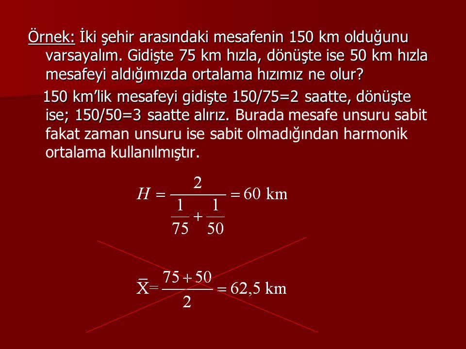 Örnek: İki şehir arasındaki mesafenin 150 km olduğunu varsayalım
