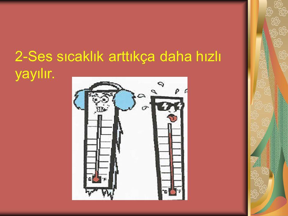 2-Ses sıcaklık arttıkça daha hızlı yayılır.