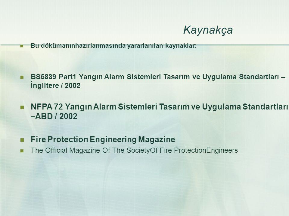 Kaynakça Bu dökümanınhazırlanmasında yararlanılan kaynaklar: BS5839 Part1 Yangın Alarm Sistemleri Tasarım ve Uygulama Standartları –İngiltere / 2002.