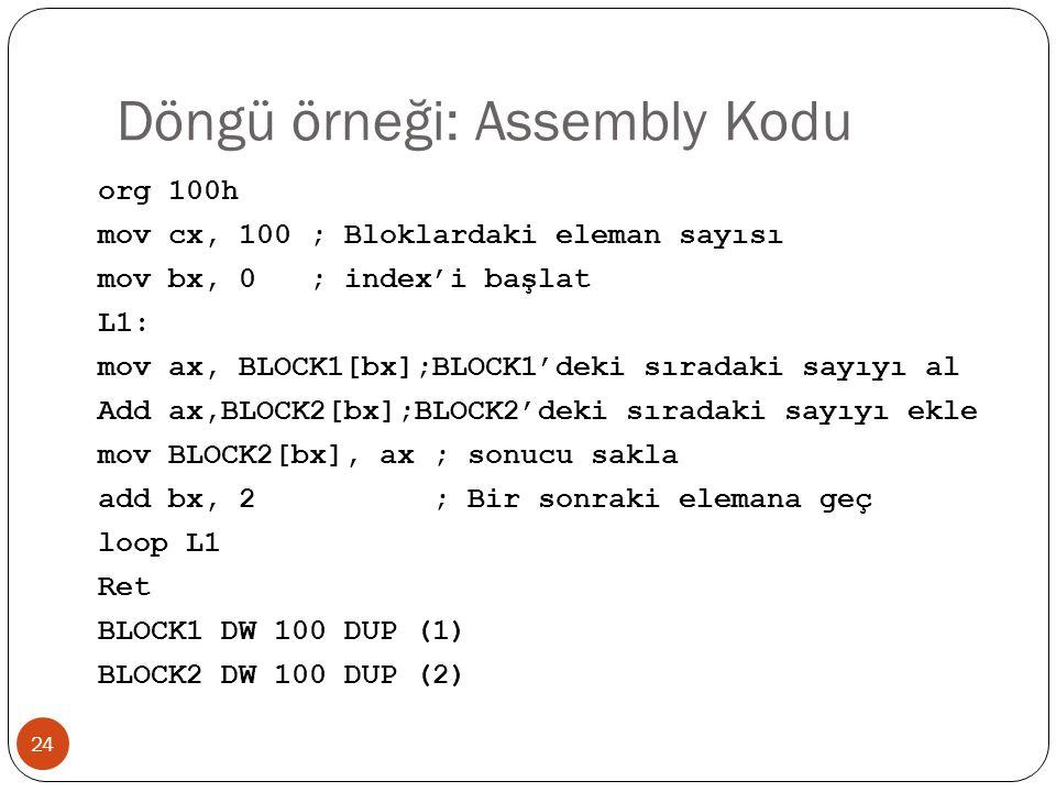 Döngü örneği: Assembly Kodu