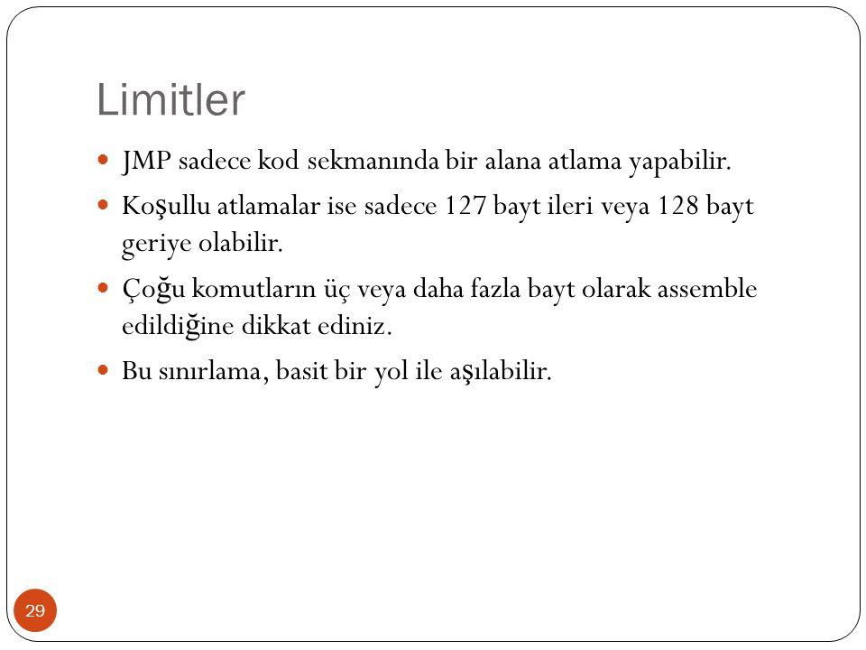 Limitler JMP sadece kod sekmanında bir alana atlama yapabilir.
