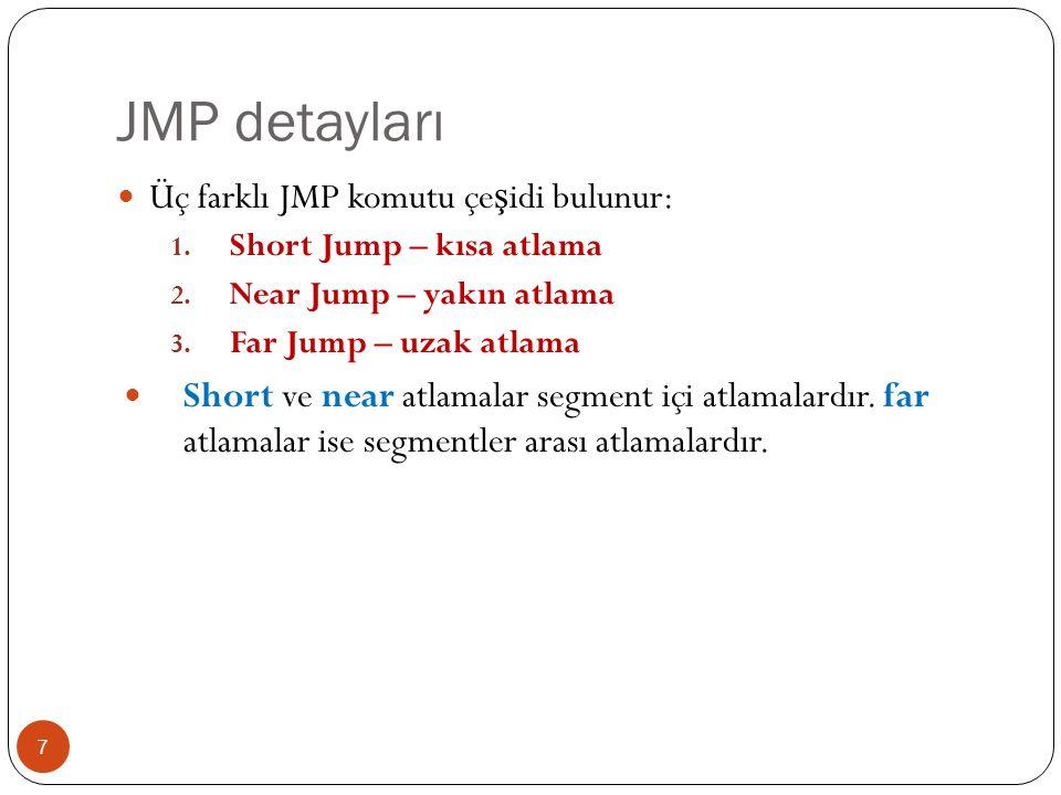 JMP detayları Üç farklı JMP komutu çeşidi bulunur:
