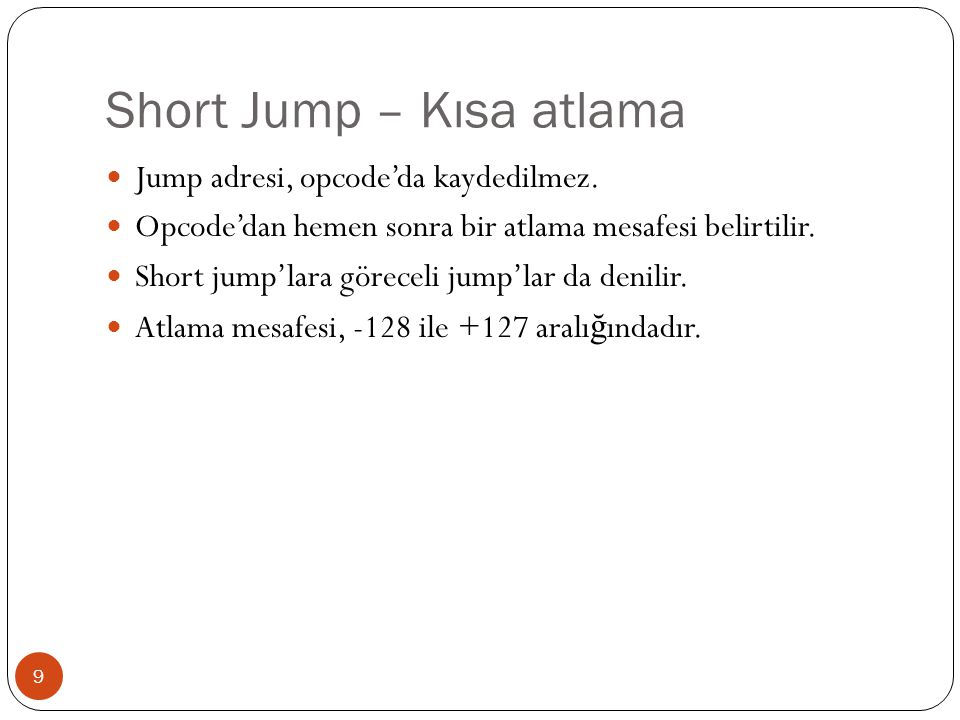 Short Jump – Kısa atlama