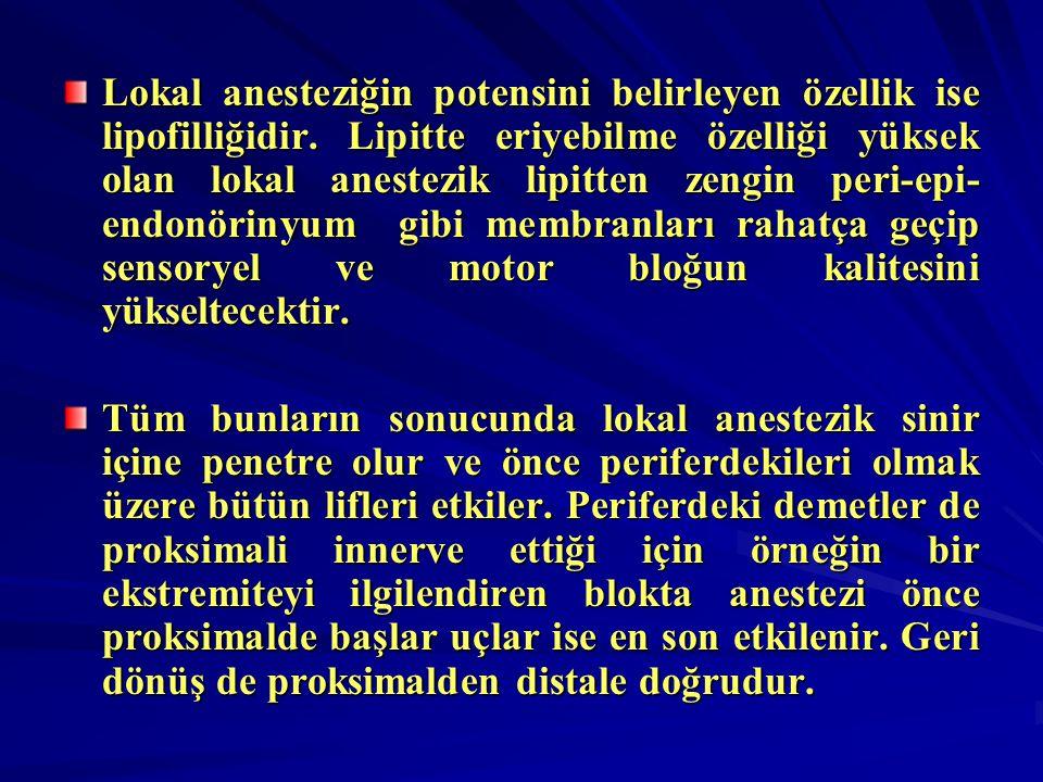 Lokal anesteziğin potensini belirleyen özellik ise lipofilliğidir