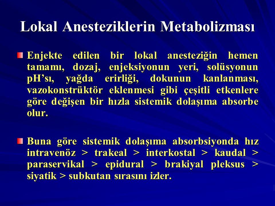 Lokal Anesteziklerin Metabolizması