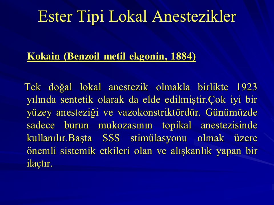 Ester Tipi Lokal Anestezikler
