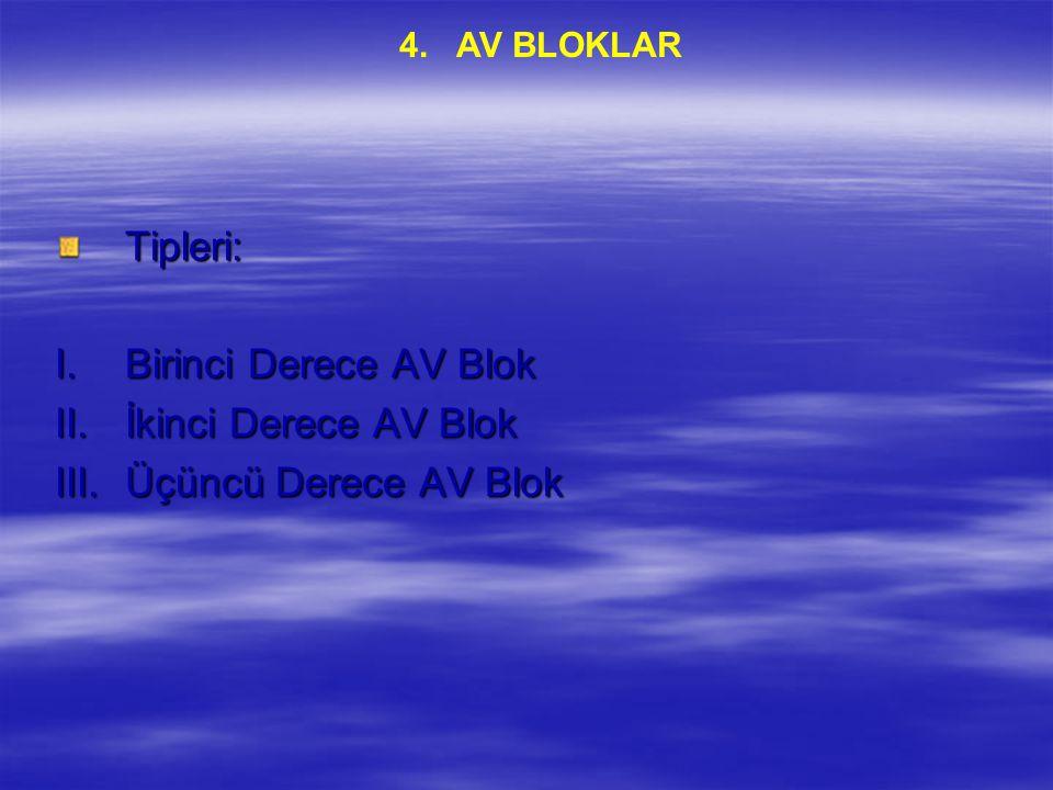 Tipleri: Birinci Derece AV Blok İkinci Derece AV Blok