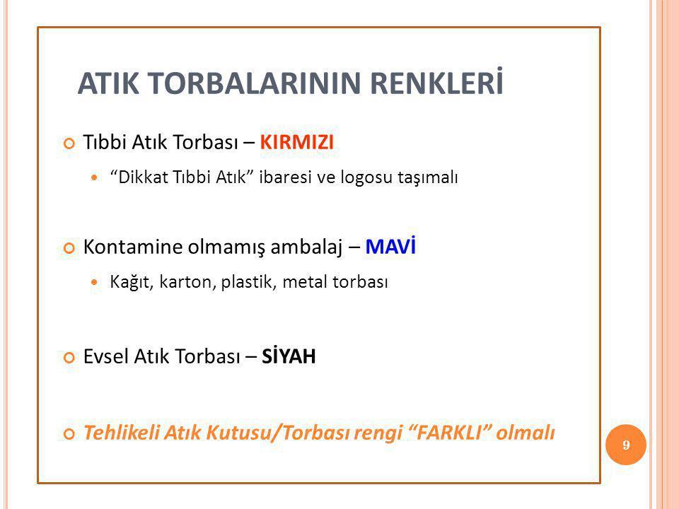 ATIK TORBALARININ RENKLERİ