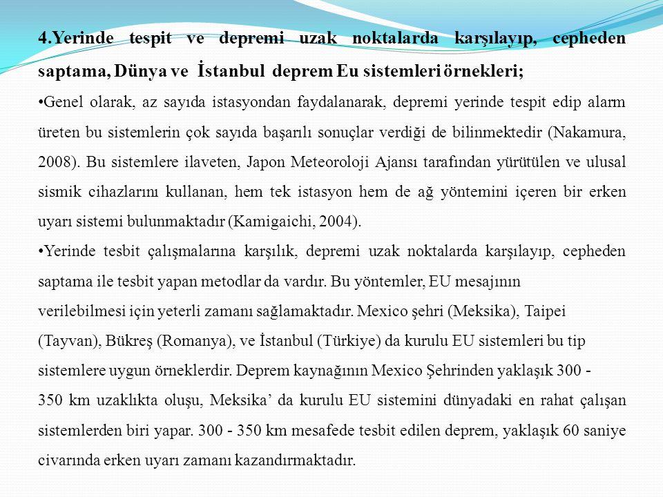 4.Yerinde tespit ve depremi uzak noktalarda karşılayıp, cepheden saptama, Dünya ve İstanbul deprem Eu sistemleri örnekleri;