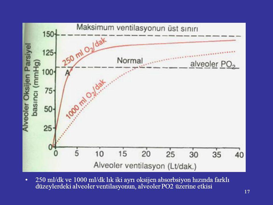 250 ml/dk ve 1000 ml/dk lık iki ayrı oksijen absorbsiyon hızında farklı düzeylerdeki alveoler ventilasyonun, alveoler PO2 üzerine etkisi
