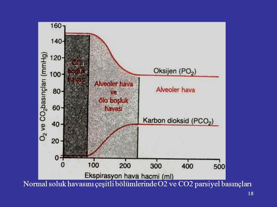 Normal soluk havasını çeşitli bölümlerinde O2 ve CO2 parsiyel basınçları