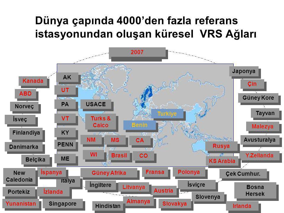 Dünya çapında 4000'den fazla referans istasyonundan oluşan küresel VRS Ağları