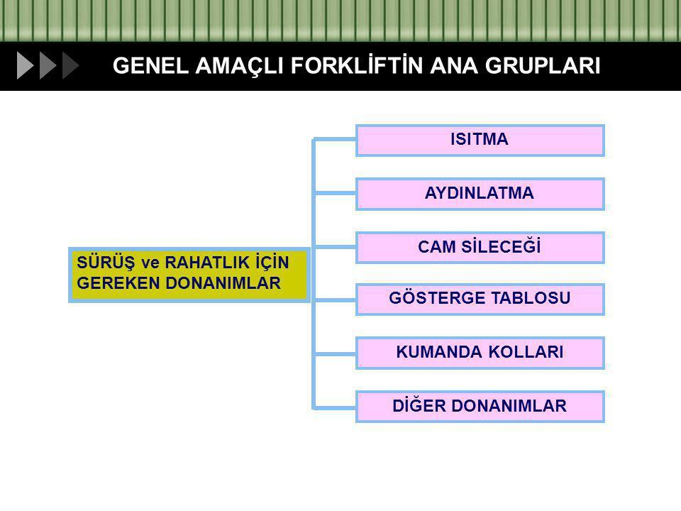 GENEL AMAÇLI FORKLİFTİN ANA GRUPLARI