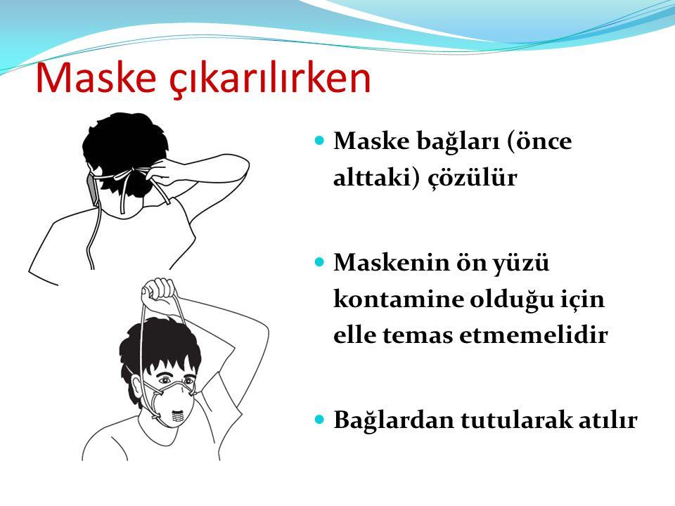 Maske çıkarılırken Maske bağları (önce alttaki) çözülür