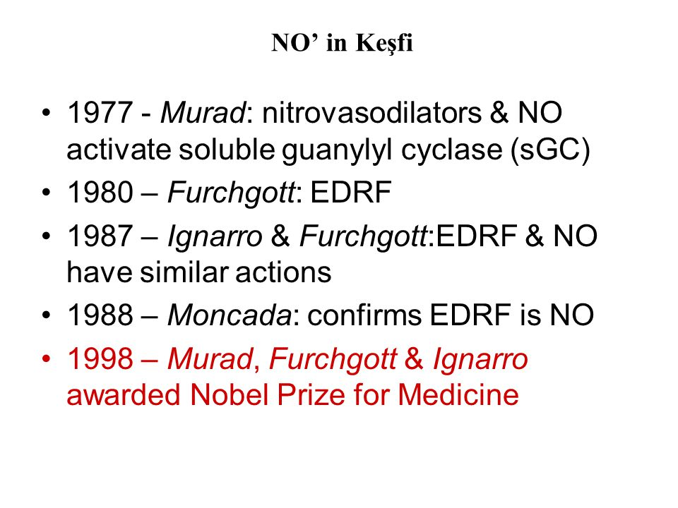 1987 – Ignarro & Furchgott:EDRF & NO have similar actions